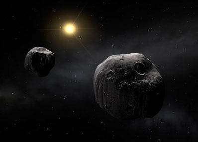 Asteroid Antiope mit Begleiter, Foto: ESA