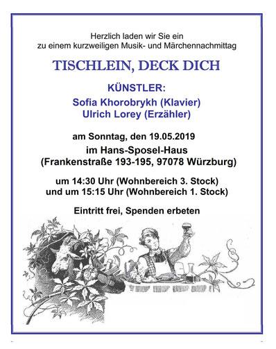 Plakat: Veranstaltung - Benefizkonzert mit Sofia Khorobrykh im Burkardushaus am 29.4.2018