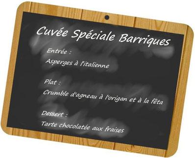 Accords mets et vins cuvée spéciale barriques