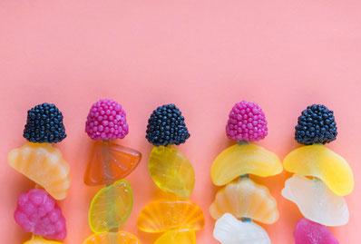 Fruchtgummi, Zucker, ungesund, Karies, pink, Früchte, Insulin, schlank Gauting, Abnehmen Gauting, Sport Gauting, Hypnose Gilching