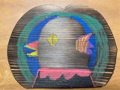 娘がアマビエを描いて作った鍋敷き