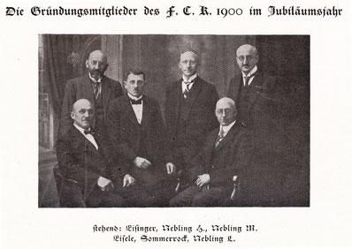 Gründungsmitglieder des FCK 1900; aus der FVK-Festschrift von 1925 (Foto: Archiv Eric Lindon)