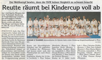 Teilnehmer des 1. Minicups in Pfronten