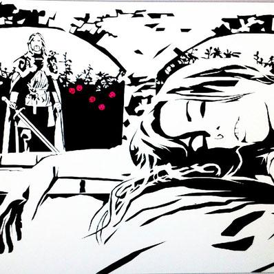 Dornröschen schläft und der Prinz mit Schwert will sie wach küssen