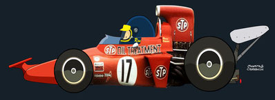 Ronnie Peterson by Muneta & Cerracín  - STP March Racing Team: March 711 - Ford Cosworth V8