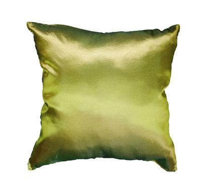 タイシルク(絹)クッションカバー シンプルデザイン グリーン 緑色 45×45cmサイズの画像