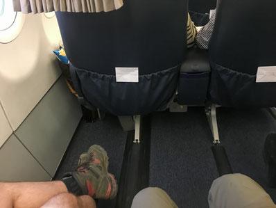 Viel Beinfreiheit auf dem Flug von JNB nach Windhoek