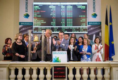 Translators ring the opening bell at Euronext during the 7th Financial Translation Summer University in Brussels.