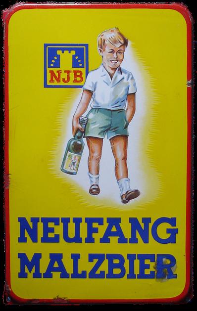 Emaillieschild Emailschild Neufang Malzbier Saarbrücken