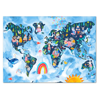 Frau Ottilie Kinderzimmer-Poster Weltkarte mit Figuren