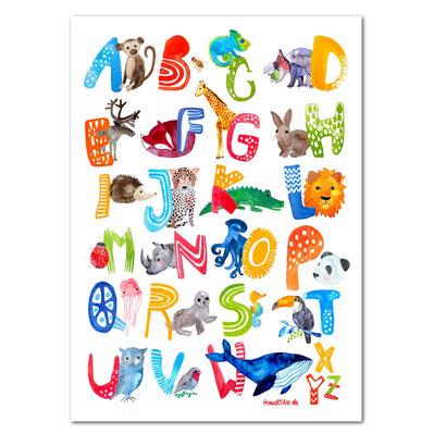 Frau Ottilie Kinderzimmer-Poster ABC Alphabet mit Tierfiguren - zuckerfrei | Kids Concept Store