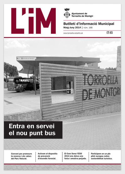 Diseño editorial. Portada de boletín de información municipal.