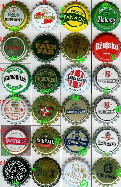 European beer caps, row 19-24.