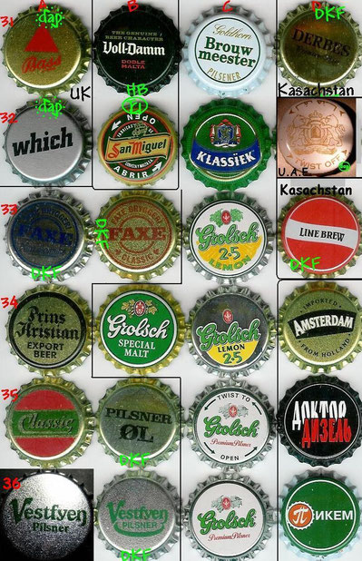 European beer caps, row 31-36.
