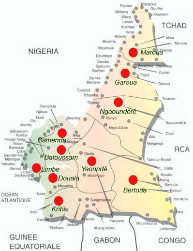 Carte des services et bureaux des douanes en 2020