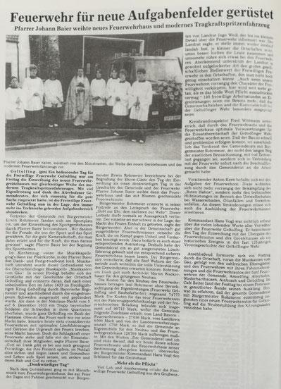 1994 Fahrzeugweihe neues TSF