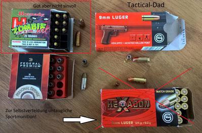 Glock 17 Magazine mit Polizeimunition Action 4 und PEP (links) und ziviler Munition (rechts). Das oben links sind eine normale Vollmantel und eine Subsonic.