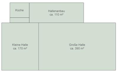 Grundriß mietbare Bereiche der Mehrzweckhalle (nicht maßstabsgetreu)