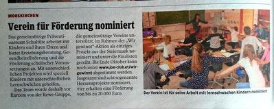 21.10.2020: die Kleine Zeitung berichtet von der Nominierung des Vereines Schultüte bei den Herzensprojekten und ruft zum Voting auf.