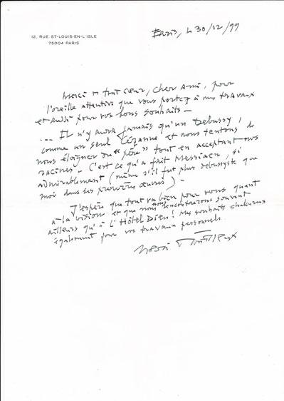 Henri Dutilleux lettre autographe signée Dubessy CD Galerie achat vente photo