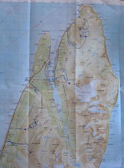 Karte unserer Skitouren ganz im Norden der Lyngen Halbinsel
