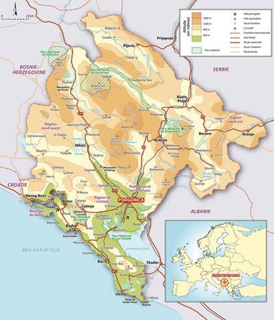 carte relief montenegro