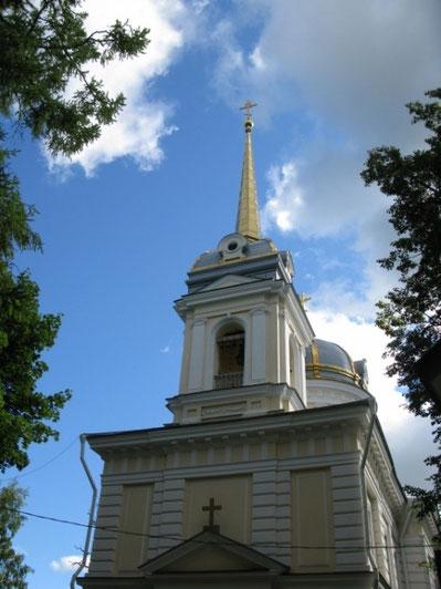 Колокольня и купол Екатерининской церкви были взорваны в 1941 году, полностью восстановлены в 2011 г.