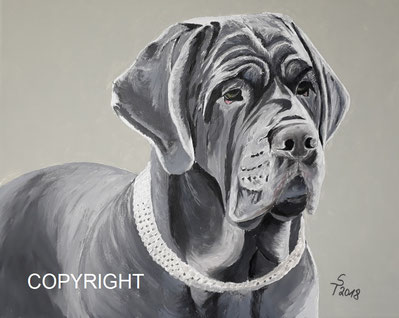 Hundeporträt: Mastino Napolitano mit grauem Fell, Kopf, Brust und Rücken sind dargestellt, Tiermalerei, gemalte Tierportraits nach Fotovorlage, Tiere zeichnen lassen