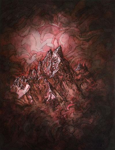 Matt.B, mattb, peinture, acrylique, encre, la noire, chamonix,montagne, painting, acrylic, ink, mountain