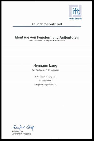 Teilnahmezertifikat SL Holzbau GbR