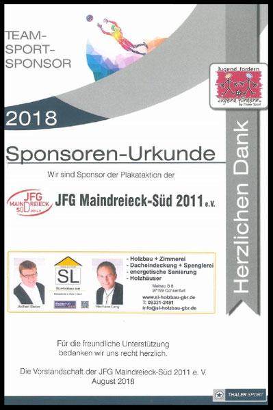 Sponsoren Urkunde SL Holbaz GbR