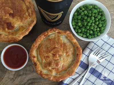 Beef and guinness pie with porcini