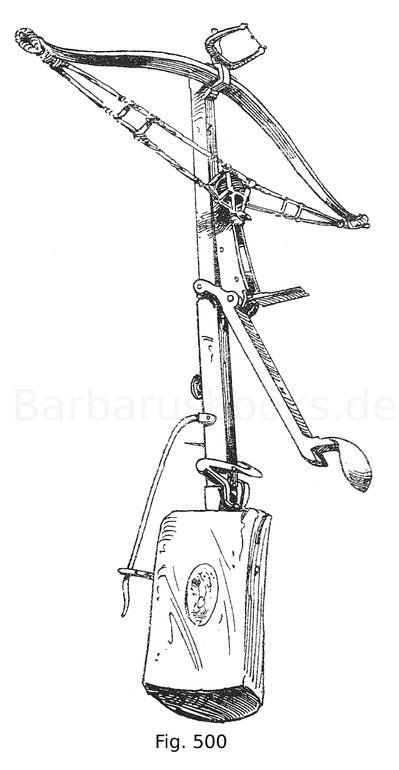 Fig. 500. Kleiner deutscher Schnepper aus Eisen mit hölzernem Kolben. Die Besehnung ist original. Waffensammlung im Stift Klosterneuenburg.
