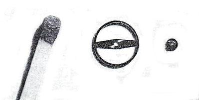 Bild 5 Größenvergleich mit Streichholz für eine schraubenlose Unruh & Doppelrolle für Kaliber 63