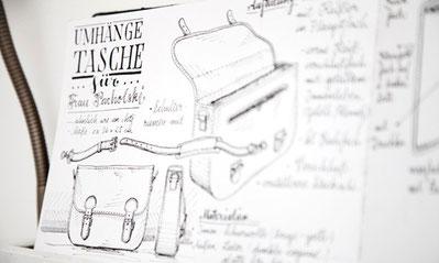 Skizzenbuch mit Zeichnung für Maßanfertigungen
