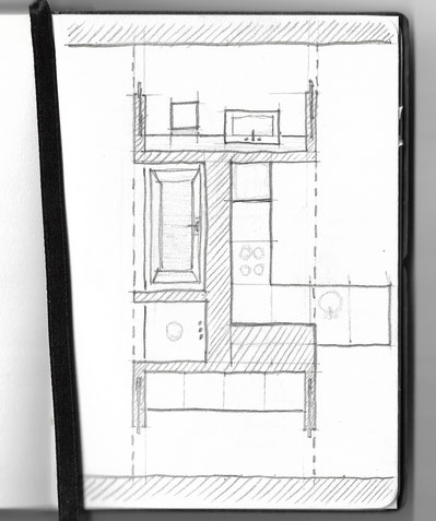 Room Divider Pencil Concept Sketch by Heidi Mergl Architect