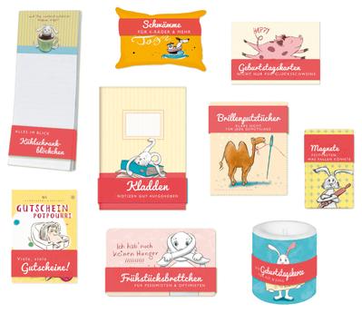 Illustrierte Geschenkideen von Judith Ganter erschienen bei Rannenberg & Friends - Kühlschrankblöckchen, Schwämme, Geburtstagskarten, Kladden, Brillenputztücher, Magnete, Gutscheine, Frühstücksbrettchen, Geburtstagskerze
