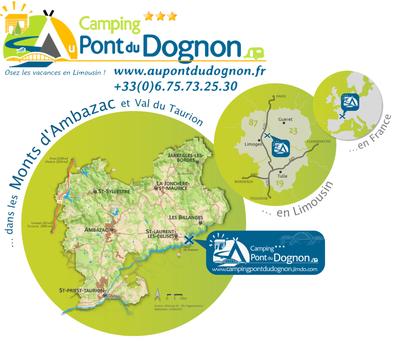 accès camping Au Pont du Dognon, Limoges, Limousin