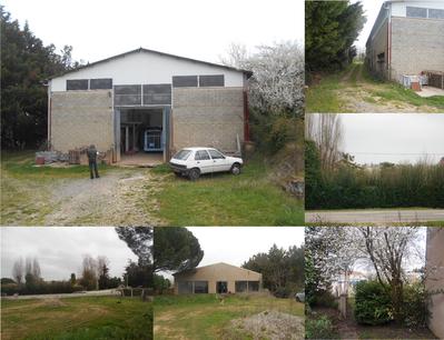 Montage photo du terrain et de l'entrepôt