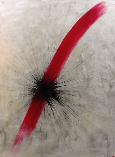 Black attacks Red, acrylic on canvas / 50 x 70 cm