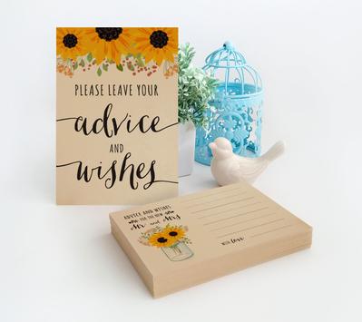 Sunflower Wedding Advice Cards