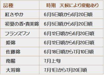 さくらんぼ狩りの品種カレンダー紅さやか初夏の香フランスワン姫錦佐藤錦大将錦南陽の収穫時期