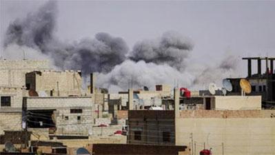 Det syriske luftvåben bombarderer  Al-Hasaka i Rojava