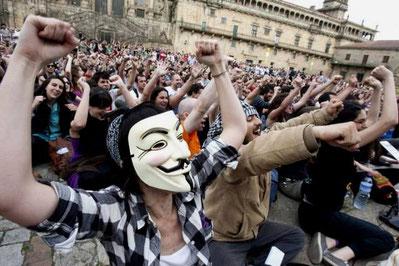 'Indignados' demonstrerer i Santiago de Compostela, hovedstaden i Galicien