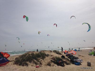 Kapverden Insel Sal, Kitesurfer am Kitespot bei viel Wind. Kite-Spotguide auf Lifetravellerz.com