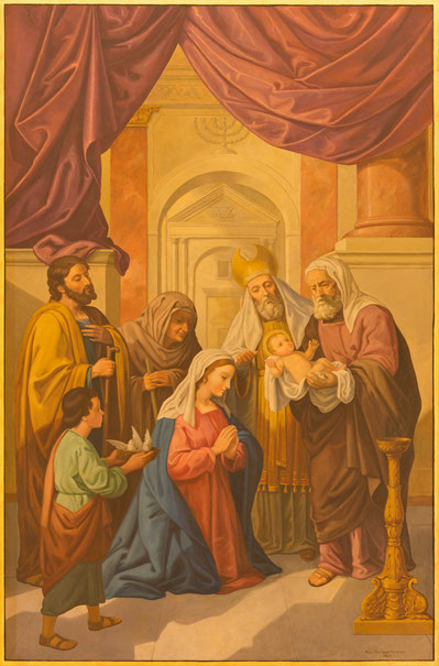Jesu Darstellung im Tempel, Fresko von Raphael Rodriguez in der Basilica de la Macarena in Sevilla