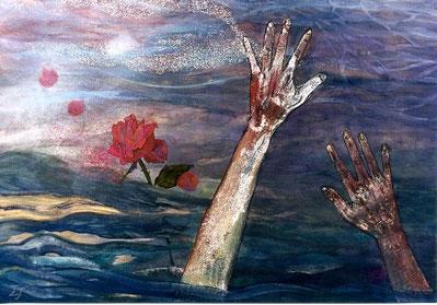 Aquella rosa (あの薔薇 Anoo bara). Pigmentos, 51 x 73 cm, 2003.