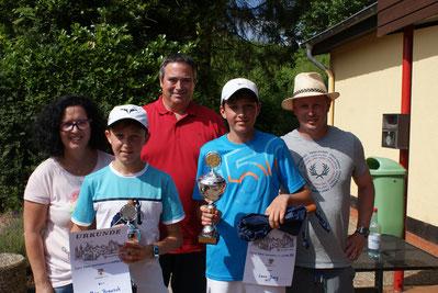 Sieger u 18 Herren v.l. Noel Hartzheim 2.Platz, Simon Junk 1. Platz