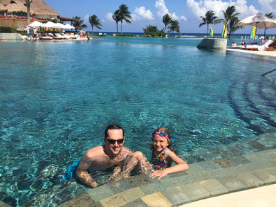 My son and daughter enjoying the pool