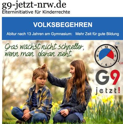 """Website des NRW-Volksbegehrens """"G9 jetzt!"""" (Screenshot)"""